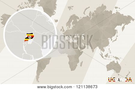 Zoom On Uganda Map And Flag. World Map.