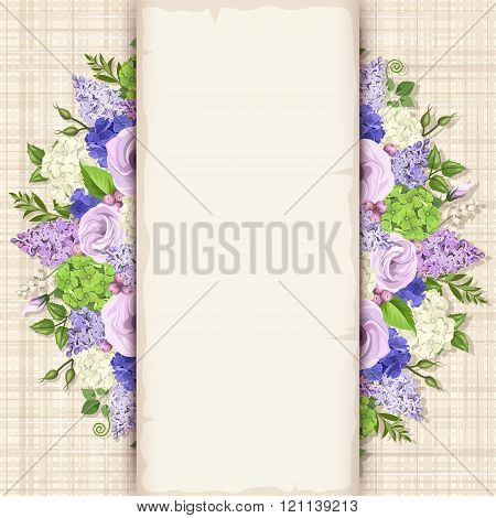 Card with blue, purple and white flowers. Vector eps-10.