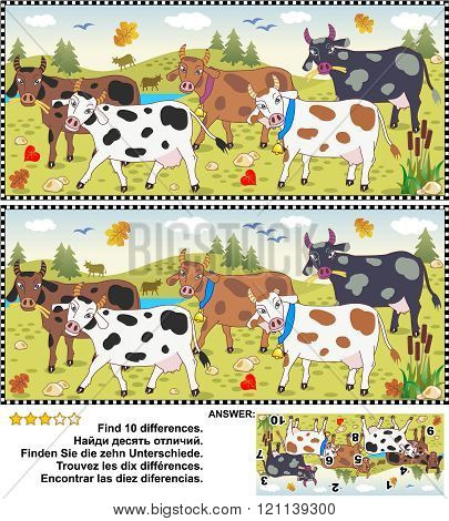 Find the differences picture puzzle - cows