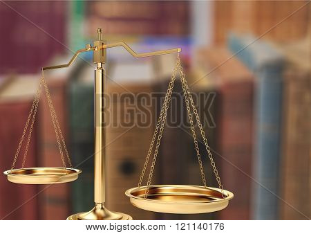 Law scales on table background. Symbol of justice