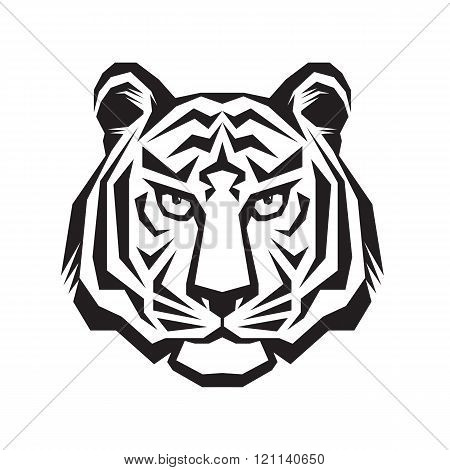 Tiger head - vector logo concept illustration in classic graphic style. Tiger head silhouette sign.