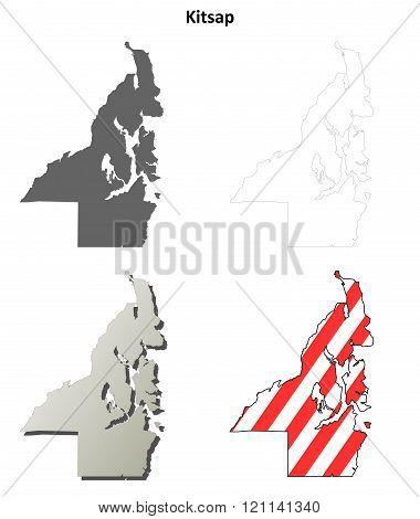 Kitsap County, Washington outline map set
