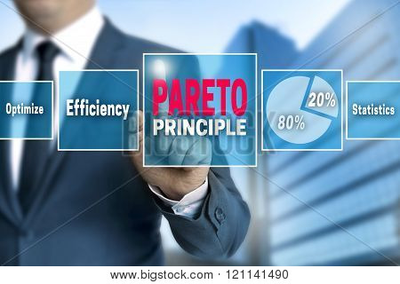 Pareto Touchscreen Is Operated By Businessman