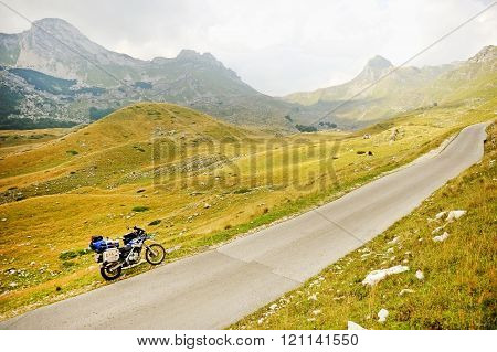 Adventure Motorcycle In Sedlo Pass