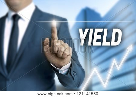 yield touchscreen is operated by businessman