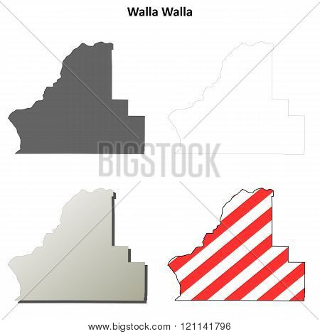 Walla Walla County, Washington outline map set
