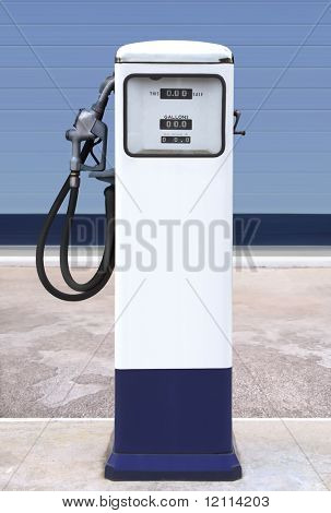 Ancient gas pump in the setting of an retro gas station