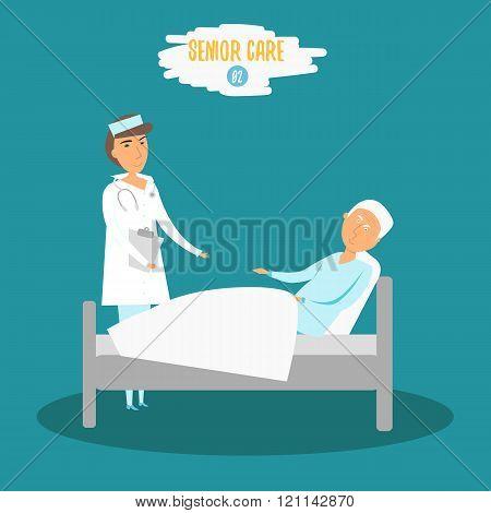 Vector Care senior. Woman doctor helping senior man near bed. Careing senior nurse at hospital. Care