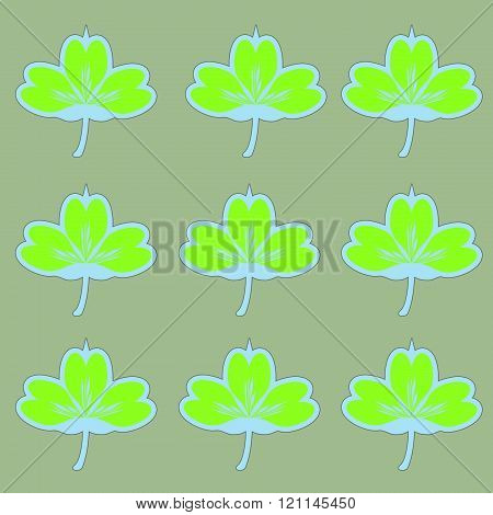 Repeating green and blue  clovers pattern