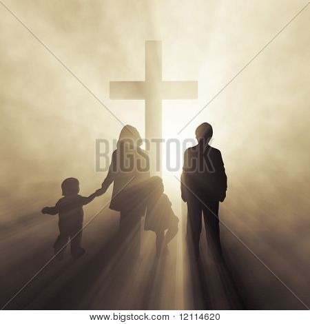 christian family before a cross poster