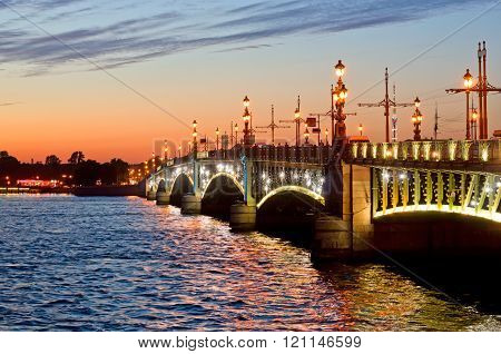 View Of The Trinity Bridge In St. Petersburg, Russia.