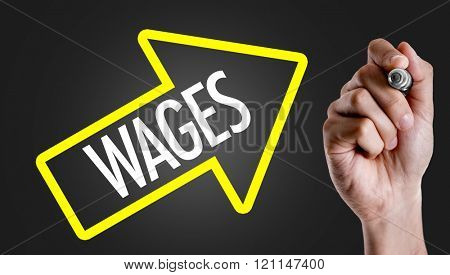 Hand writing the text: Wages