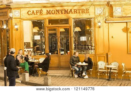 The Traditional French Cafe Montmartre, Paris, France.
