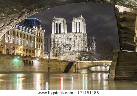 The Notre Dame Cathedra In Evening , Paris, France.