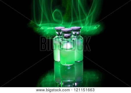 Green Glowing Medicine With Toxic Fire