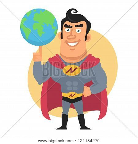 Superhero holds planet earth on finger