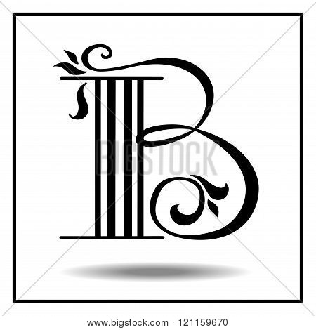 Letter B made with leaves.