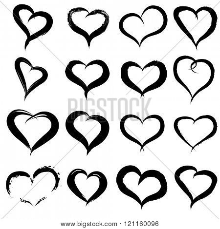 Concept or conceptual painted black heart shape or love symbol set or collection, made by a happy child at school isolated on white background