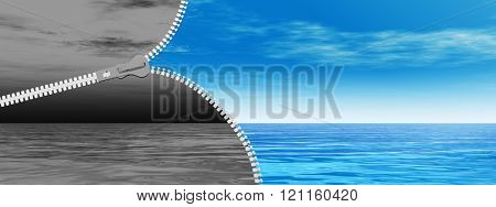 Concept or conceptual 3D abstract zipper, dramatic dark cloudy sky and sea to sunny summer blue sky with clouds background banner