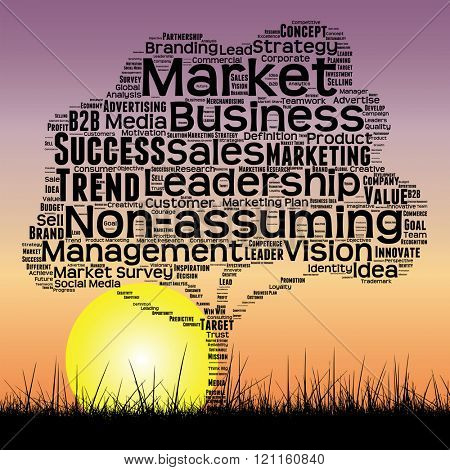 concept or conceptual black media business tree and grass word cloud on sunset sky background