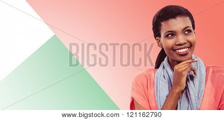 Happy woman thinking against green background
