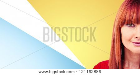 Close up view of a hipster woman against blue background