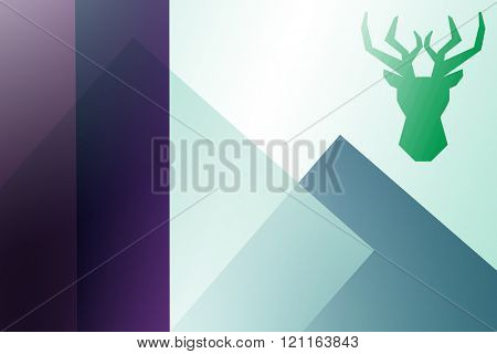 Black deer against colored background