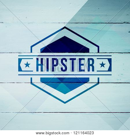 Hipster logo against colored wood