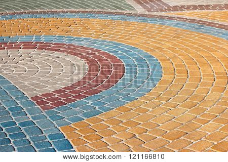 Painted In Different Colors Is Figured Pavement Of Stone
