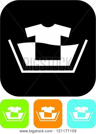 Washing clothes. Laundry - Vector icon isolated