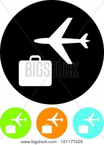 Air travel and luggage bag vector icon