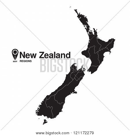 New Zealand Silhouette Regions Map