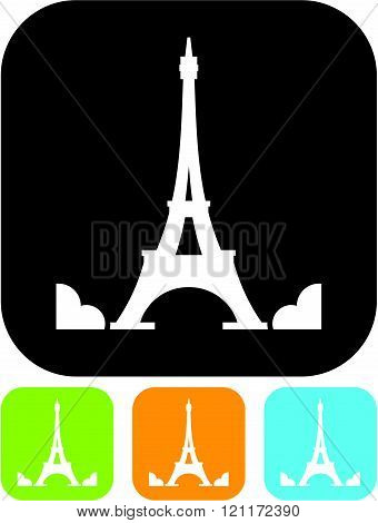 Eiffel Tower in Paris, France - Vector icon isolated.