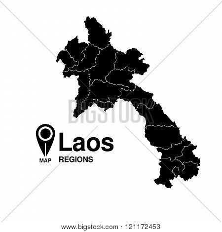 Laos Silhouette Regions Map