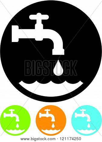 Water tap - Vector icon isolated on white