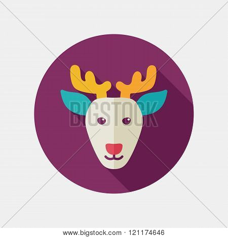 Deer Flat Icon. Animal Head Vector Illustration