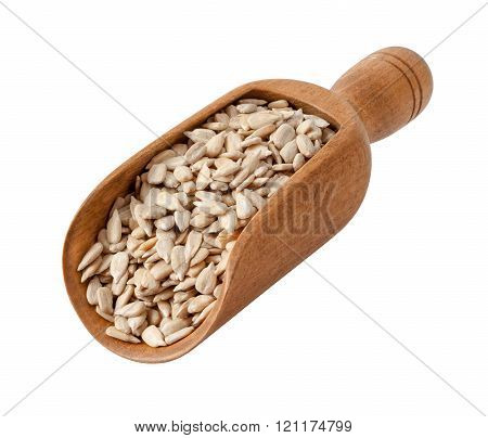 Sunflower Seeds In A Wood Scoop