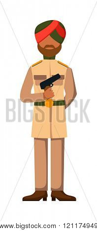 Indian troop armed forces man with weapon illustration. Indian army in dark-skinned indian troop soldier in hat. Indian troop man in uniform with weapon isolated on white background.