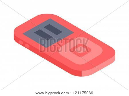 Isometric music player 3d vector icon for web and mobile devices. Music player isometric for web. Isometric music player audio design. Isometric music player media technology vector icon.