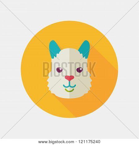 Lama Flat Icon. Animal Head Vector Symbol