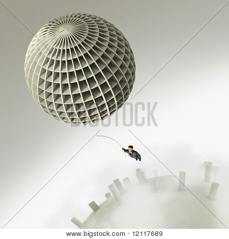 businessman flight on balloon
