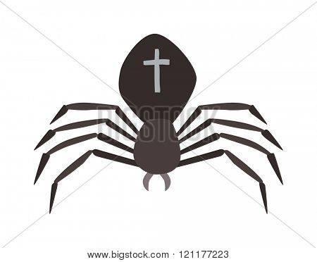 Spider illustration. Black Widow spider. spider over white background. Spider halloween design ison. Spider insect black illustration. Spider cartoon design.