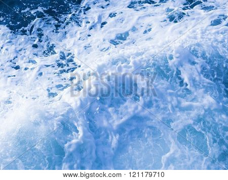 beautiful clear blue water flows seething foaming and splashing splashing splashes and drops poster