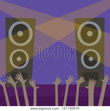 Music scene background illustration. Close up of light beam at the empty stage with copy space. Music scene. illustration of a music scene. Music scene technology in cartoon style.