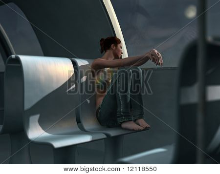 lonely woman in an empty train carriage