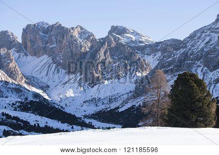 Mountain view in Santa Cristina, Val Gardena, Italy