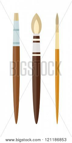 Vector artist brushes isolated on white. Artist brush design concept set with art tools and materials flat icons isolated vector illustration. Used artist paint brushes. Artist brush creative drawing.