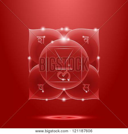 Red glossy muladhara chakra banner