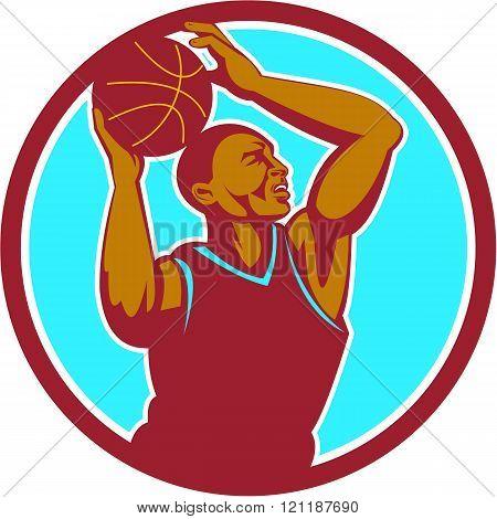 Basketball Player Rebounding Ball Circle Retro