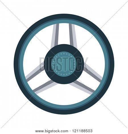 Car rudder wheel vector illustration. Car rudder wheel isolated on white background. Car rudder wheel vector icon illustration. Car rudder wheel isolated vector. Car rudder wheel silhouette